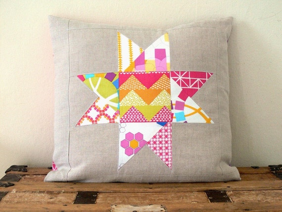 Quilted Star Pillow Cover - Fuchsia, Purple and Natural Linen