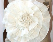 Burlap Throw pillow case with large accent flower (18x18)