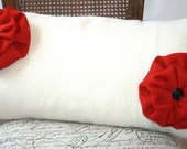 Burlap pillow case 13x27 with two red flowers