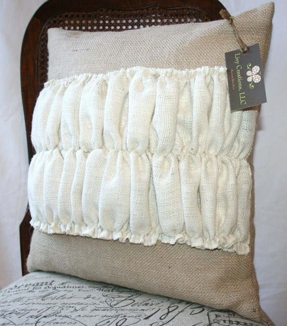 Burlap pillow case with decorative ruffles 18x18 by livycreation