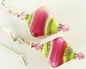 Pink Lime Green Lampwork Earrings, Green Pink Glass Beads Earrings, Sterling Silver Lime Pink Bicones Glass Earrings