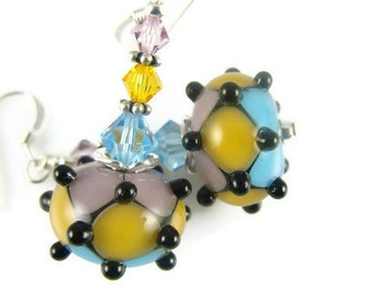 Turquoise Glass Bead Earrings, Lavender Lampwork Earrings, Yellow Dangle Earrings, Beadwork Earrings, Black Lampwork Jewelry