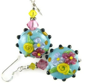Turquoise Dangle Earrings, Colorful Glass Bead Earrings, Flower Lampwork Earrings, Beadwork Earrings, Lampwork Jewelry