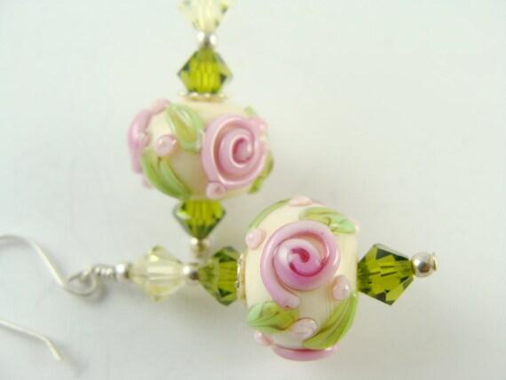 Flower Lampwork Earrings, Glass Bead Earrings, Ivory Dangle Earrings, Beadwork Earrings, Pink Roses Beaded Earrings, Lampwork Jewelry