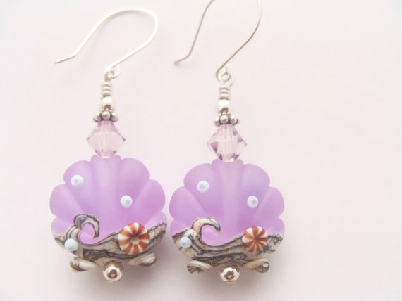 Seashell Lampwork Earrings, Lavender Dangle Earrings, Glass Bead Earrings, Lampwork Jewelry, Beaded Earrings, Scallop Earrings
