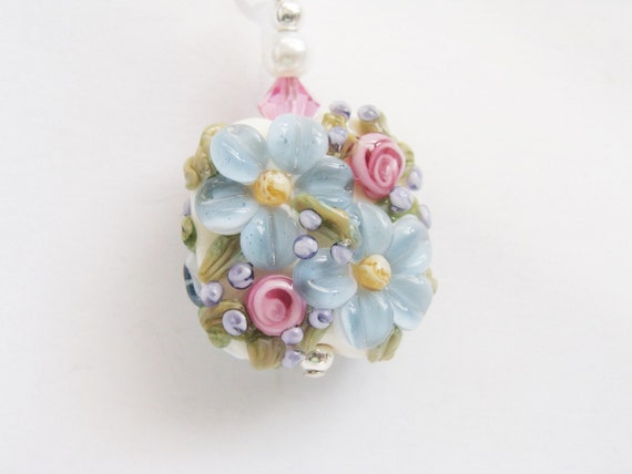 Blue Pink Floral Lampwork Pendant Necklace, Floral Pendant Necklace Spring Bouquet, Sterling Silver Flower Lampwork Necklace