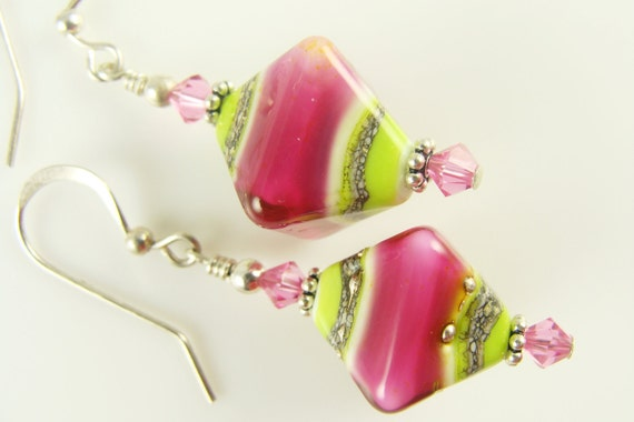 Pink Lime Green Lampwork Earrings, Green Pink Glass Beads Earrings, Sterling Silver Lime Pink Bicones Glass Earrings