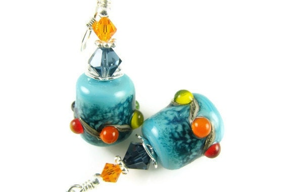 Turquoise Lampwork Earrings, Glass Bead Earrings, Blue Dangle Earrings, Beadwork Earrings, Colorful Beaded Earrings,  Lampwork Jewelry