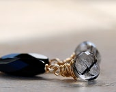 Black Glass and Rutilated Quartz Gold Filled Earrings