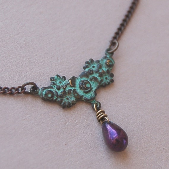 Patina Verdigris Flower Chain and Shimmering Plum Glass Necklace