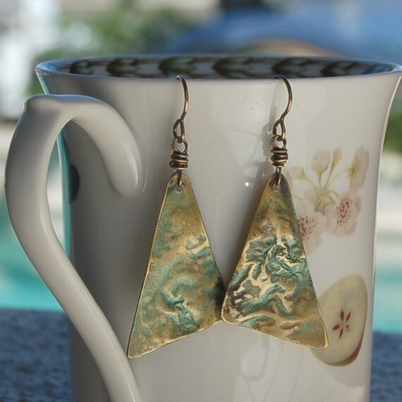 Green Patina Melted Brass Earrings