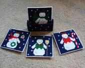 Christmas holiday coaster set