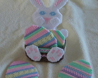 Easter bunny and egg coaster set