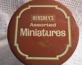 15% Off Was 7.95 Vintage HERSHEY MINIATURES Tin Container Candy Chocolate Brown Cream Americana Advertising