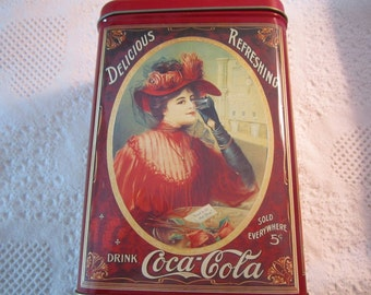 Vintage COCA COLA Tin Container Red Americana Advertising Collectible