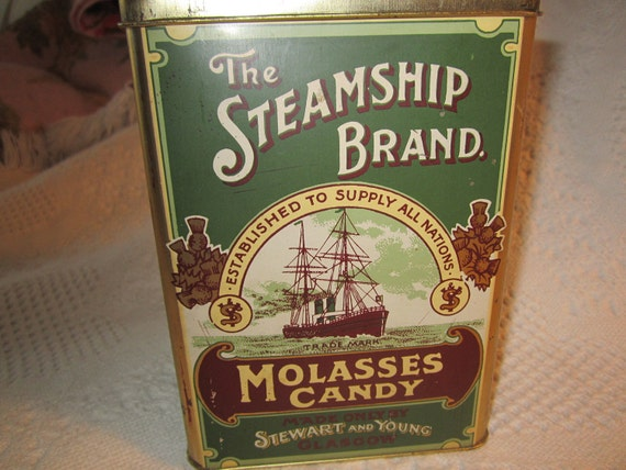 25% Off Was 12.95 Vintage England MOLASSES CANDY Tin Container Steamship Brand Glasgow Green Gold Brown