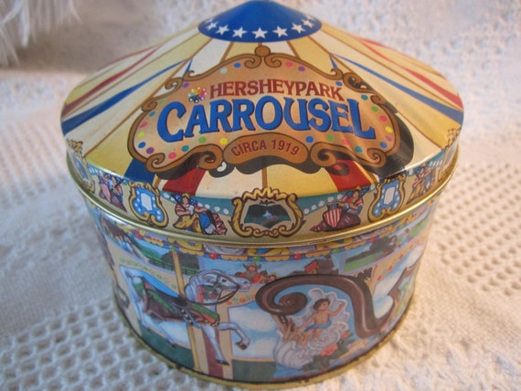 Vintage HERSHEY CAROUSEL Tin Container Circus Chocolate Blue Yellow Americana Advertising