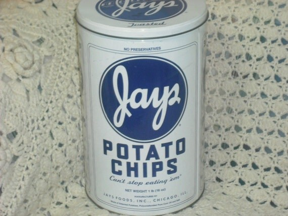 Vintage XLarge JAYS POTATO CHIPS Tin Container 1986 Limited Edition 50th Anniversary Blue White