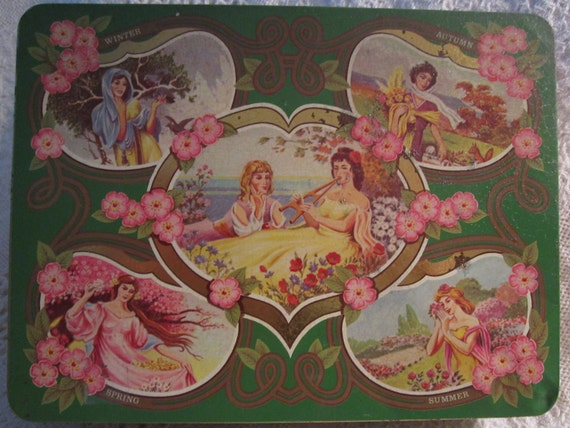 Vintage England SEASON GODDESS Tin Container Green Victorian Pink Gold Collectible