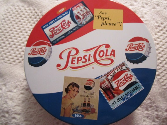 Vintage PEPSI COLA Tin Container Blue Red White Americana Advertising Pop
