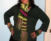 Green & Pink Double Thick Multicolered Camo Fringed Scarf