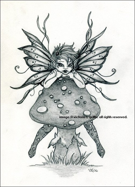 items similar to original pencil drawing fairy mushroom ForFairy On A Mushroom Drawing
