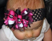 Pink and Black Skull Sassy Bow FREE shipping and headband