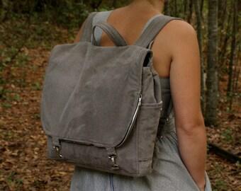 Grey Corduroy adjustable backpack