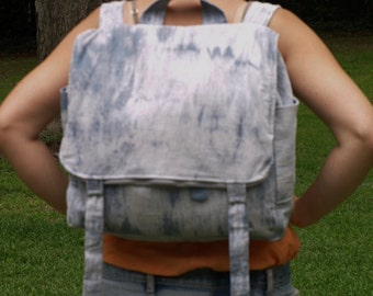 Sturdy canvas adjustable Backpack- custom hand dyed tie-dye- mens womens bag