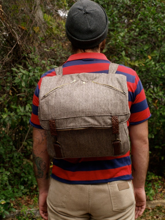 Wool Herringbone Tweed convertible backpack messenger bag Attache Laptop bag with interior zipper compartment