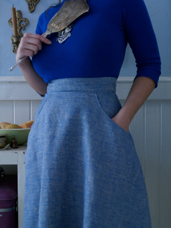Organic Blue Linen Half- Circle skirt with pockets- custom order to your waist size.