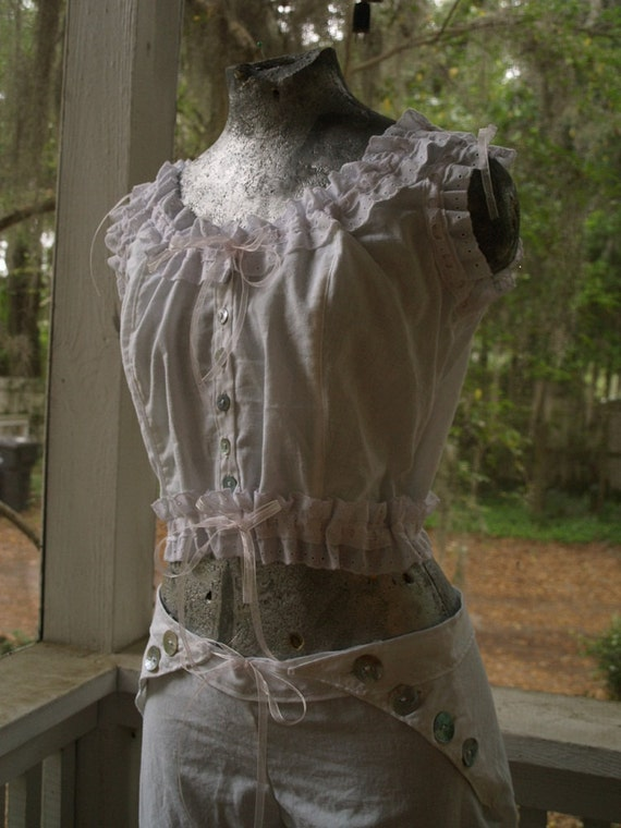 Cotton Eyelet Lace button up camisole and bloomers set- victorian underwear sleepwear- custom order to your measurements