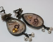 Steampunk Pearl and Resin on parchment with Watch Parts Artisan Earrings