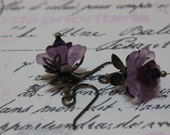 Plum , Lavender, and Brass Flower Dangle Resin and Glass Earrings - under 15