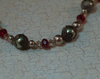 Understated Bracelet with Swarovski crystals, glass pearls, and Vintaj brass - Red, Olive Green, and Beige