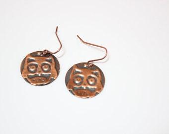 Copper Owl disk earrings