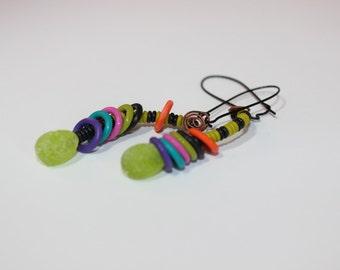 Black, Lime Green, Hot Pink, Orange, Purple, and Teal Funky Bud Dangle Earrings