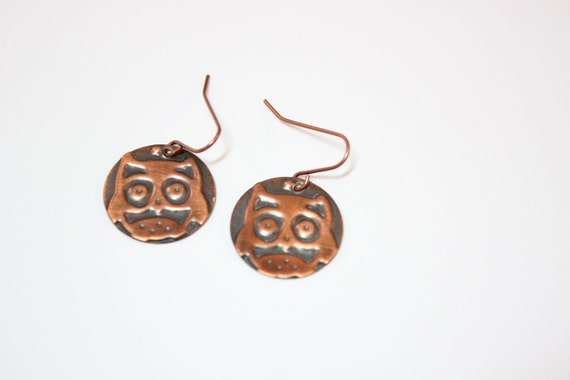 Copper Owl disk earrings