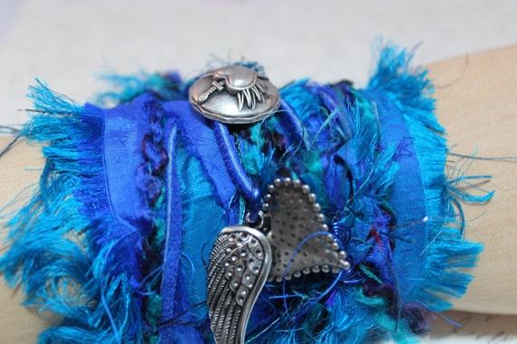 Shades of Royal Blue/Teal Fiber wrap cuff/necklace - suede, recycled sari silk, silk dupioni, and yarn