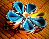 Zebra and Turquoise Kanzashi Flower Hair Clip