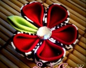 Houndstooth and Crimson Kanzashi Flower Hair Clip