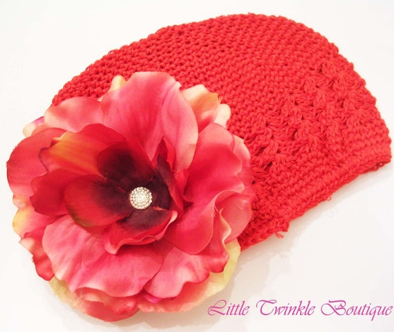 Toddler to Tween Red Crochet Hat with Red and Pink Rose