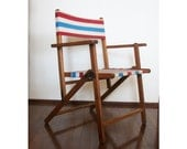 Folding Oak Chair with Red White and Aqua Blue Striped Canvas