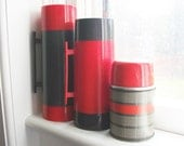RESERVED for Naoko - Vintage Thermos - Tailgate Trio - Red and Gray Aladdin Thermos Instant Collection