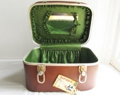 Vintage Brown Train Case with Emerald Green Interior and Keys - For your travels (or) great storage for crafts or cosmetics