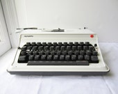 Vintage Olympiette White Typewriter with Case - Portable Manual Olympia