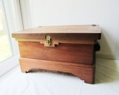 Vintage Handmade Wood Chest with Inlaid Wood Design