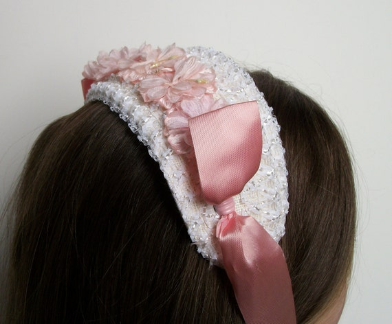 Vintage White and Pink Flowered Fascinator Headpiece Hat