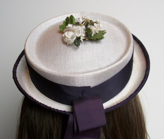Vintage Linen Hat with Purple Trim and Long Trailing Ribbon
