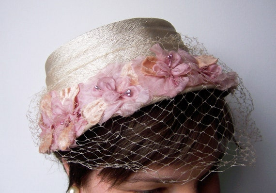Vintage Linen Hat with Pink Flowers and Cream Netting